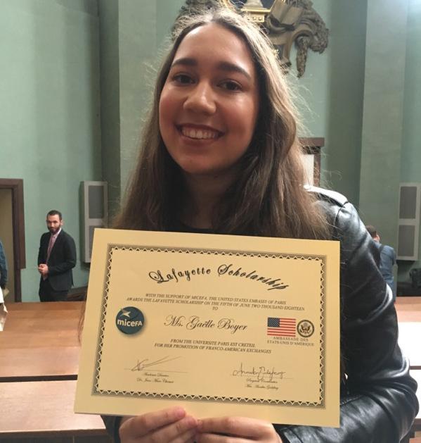 Une étudiante de l'AEI obtient une bourse Lafayette